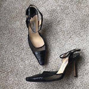Jimmy Choo black mesh and leather heels